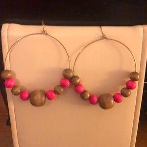Brown and Pink wood bead hoop earrings